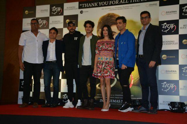 Mumbai: Director Shashank Khaitan, producer Karan Johar, actors Ishaan Khatter and Janhvi Kapoor during the success meet of their film