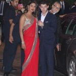 Mumbai:Actress Priyanka Chopra with his boyfriend Nick Jonas during engagement ceremony of Akash Ambani and Shloka Mehta at Antilia in Mumbai on June 28, 2018. (Photo: IANS) by .