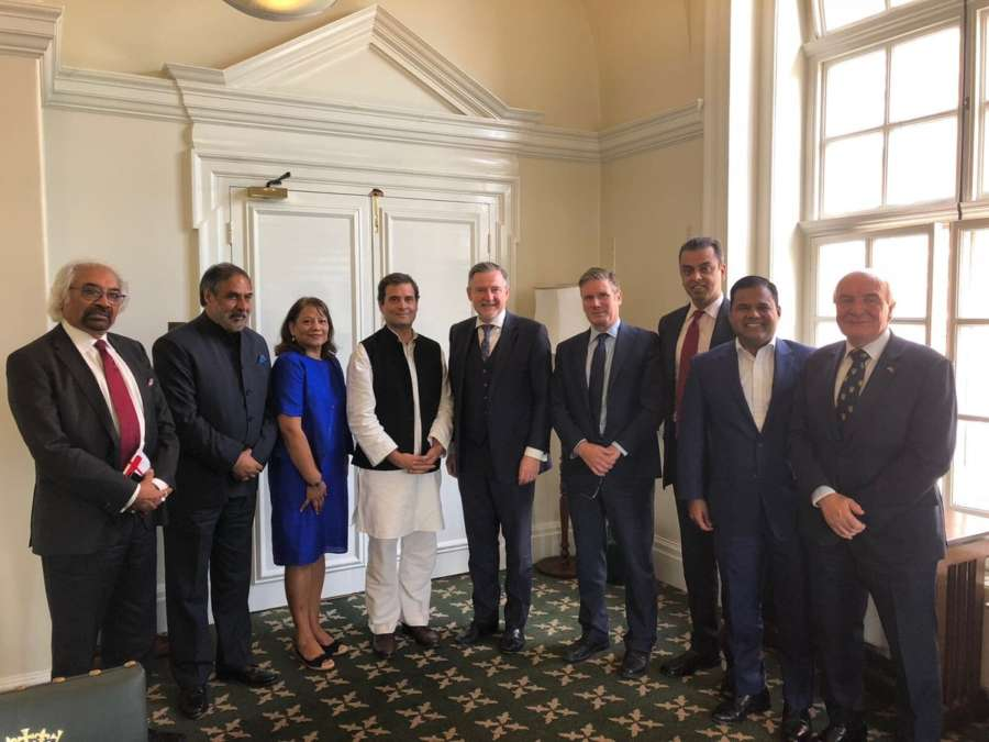 London: Congress President Rahul Gandhi meets Labour Party leaders and discussed issues such as growing protectionism, trade wars and threat to rule-based international order, in London, United Kingdom on Aug 24, 2018. Also seen Congress leader Anand Sharma. (Photo: IANS/twitter/@INCIndia) by .