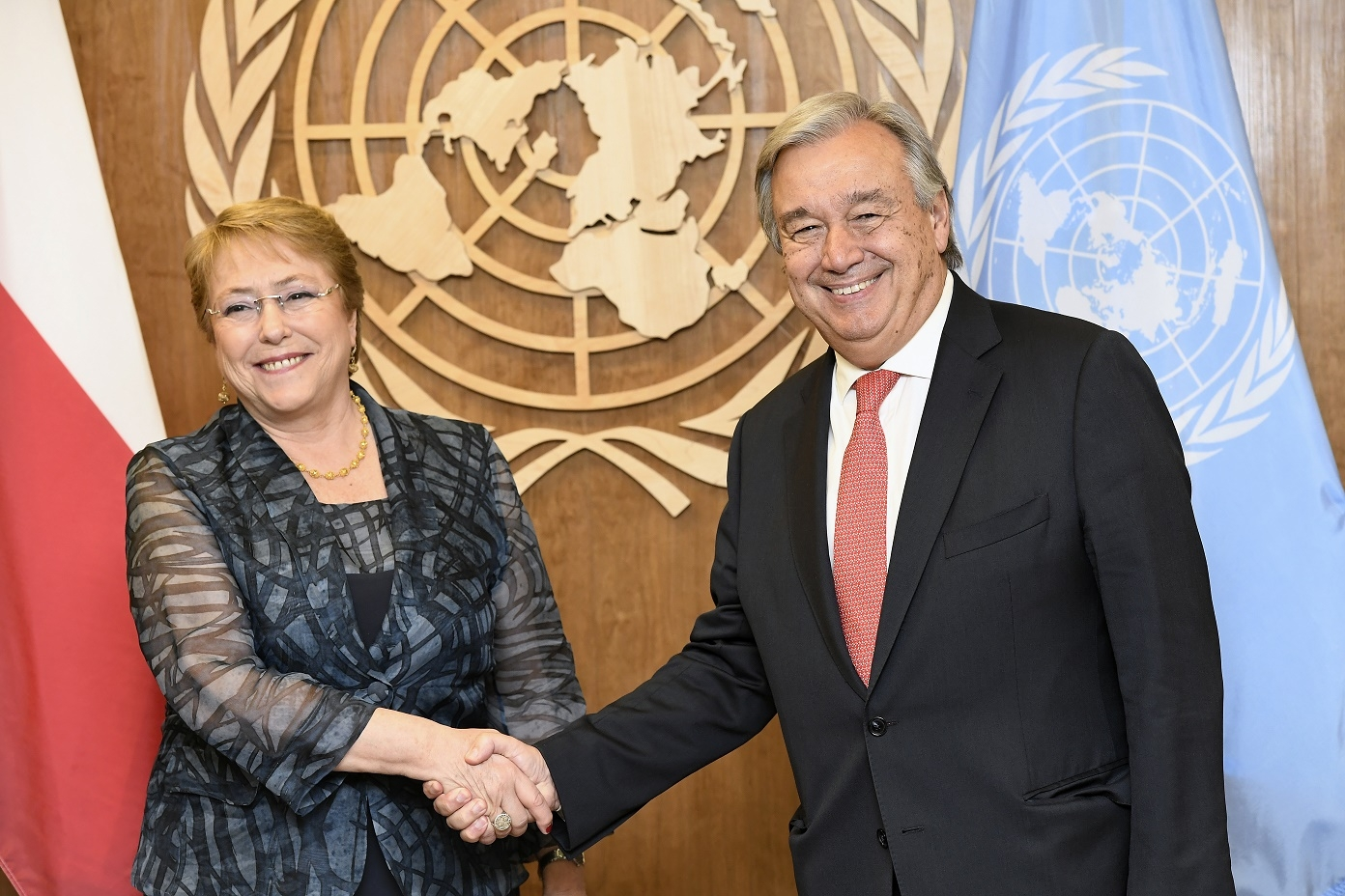 New York City: The United Nations General Assembly approved the appointment of former Chilean President Michelle Bachelet as the High Commissioner for Human Rights in New York City, US on Aug. 10, 2018. She is seen with Secretary-General Antonio Guterres, who nominated her to the post. (File photo: UN/IANS) by .