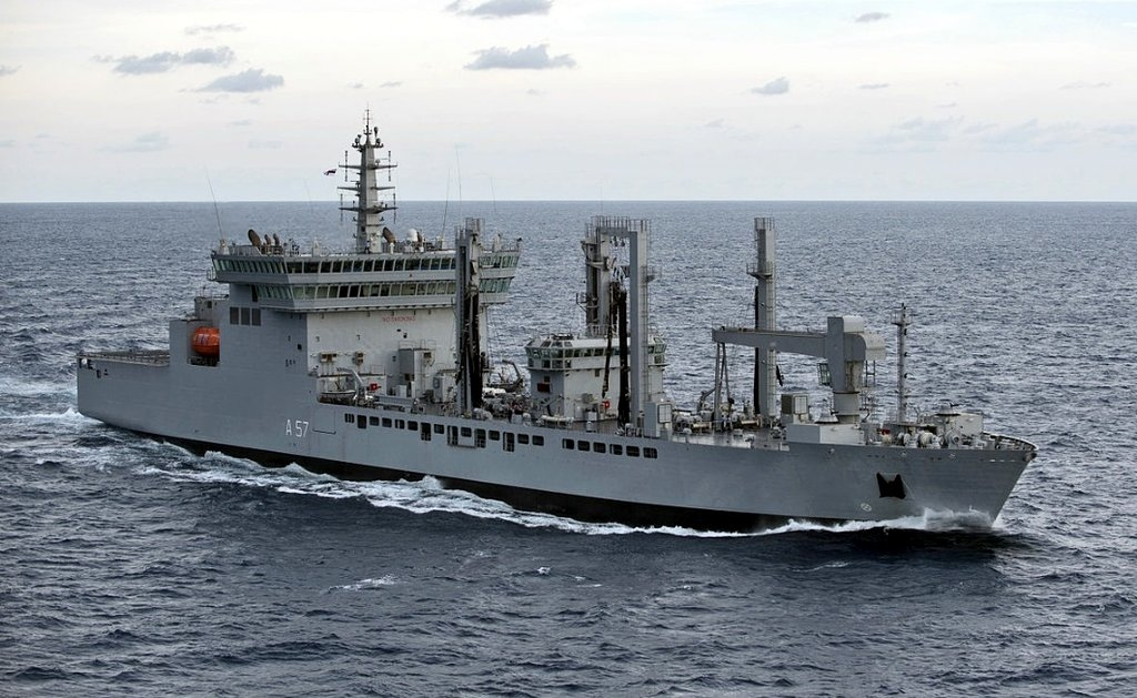 Mumbai: Indian Navy rushes fleet replenishment tanker - INS Deepak to Kochi with 8 Lakh litres of drinking water as part of relief work for Kerala floods, from Mumbai on Aug 18, 2018. (Photo: IANS/PIB) by .