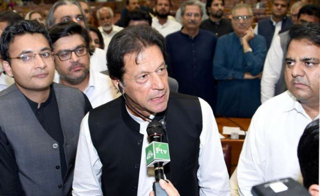 ISLAMABAD, Aug. 17, 2018 (Xinhua) -- Photo released by Pakistan's Press Information Department (PID) on Aug. 17, 2018 shows Pakistan's newly-elected Prime Minister Imran Khan (C) addressing the lawmakers in Islamabad, capital of Pakistan. Cricketer-turned-politician Imran Khan of the Pakistan Tehreek-e-Insaf (justice movement party) has been elected as the new prime minister of the country on Friday evening in a polling held by the National Assembly, or lower house of the parliament. (Xinhua/PID/IANS) by .