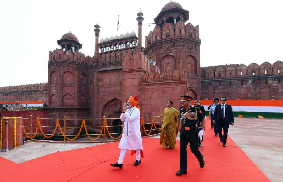 New Delhi: Prime Minister Narendra Modi walks towards the dais to address the Nation at the Red Fort, on the occasion of 72nd Independence Day, in Delhi on Aug 15, 2018. The Union Minister for Defence Nirmala Sitharaman and the Minister of State for Defence Subhash Ramrao Bhamre are also seen. (Photo: IANS/PIB) by .