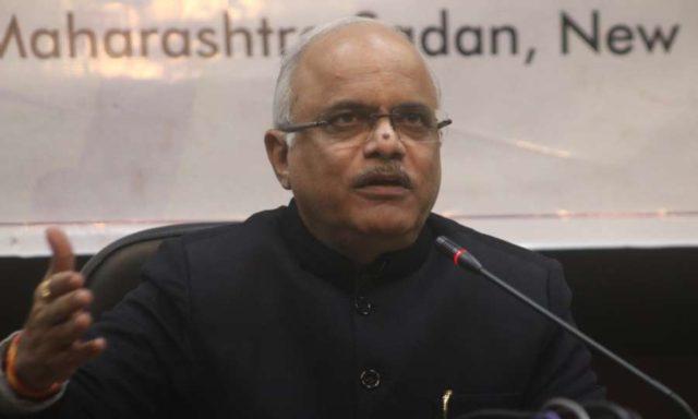 New Delhi: BJP MP Vinay Sahasrabuddhe addresses a press conference on