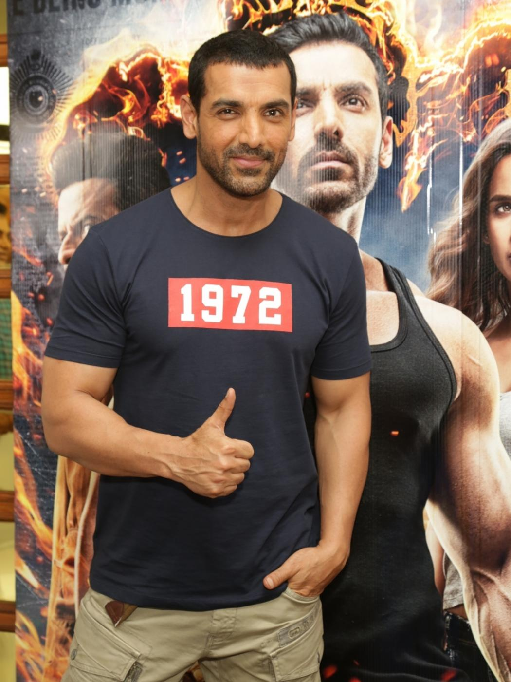 "New Delhi: Actor John Abraham during the promotion of his upcoming film ""Satyameva Jayate"" in New Delhi on Aug 9, 2018. (Photo: Amlan Paliwal/IANS) by ."