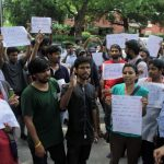 New Delhi: Students of Jawaharlal Nehru University (JNU) stage a demonstration against the Central Government over the situation of Kerala floods, in New Delhi on Aug 18, 2018. (Photo: IANS) by .
