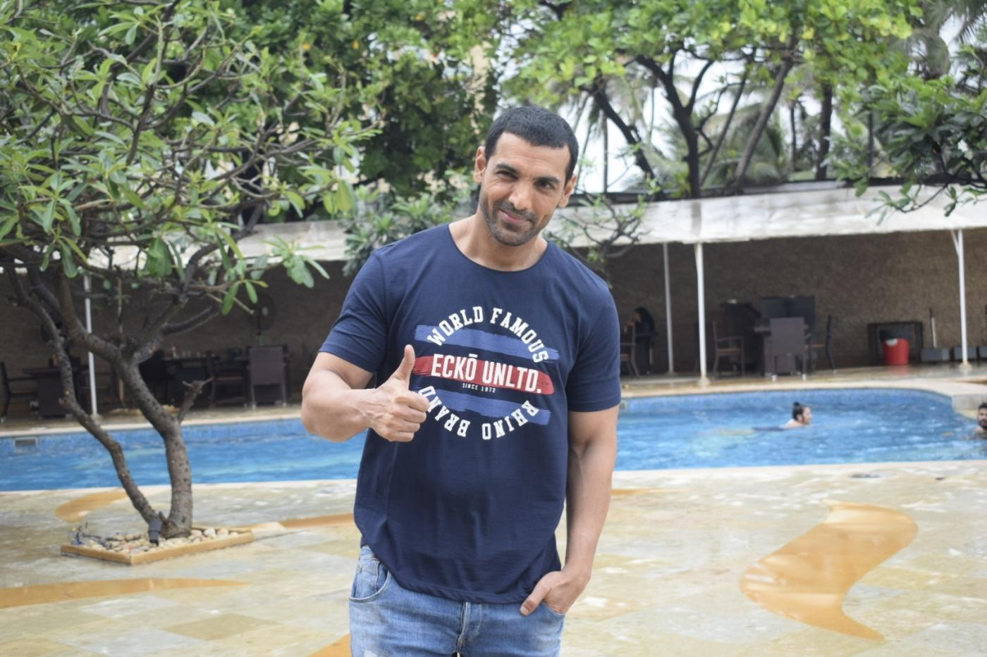 "Mumbai: Actor John Abraham during a media interaction to promote his upcoming film ""Satyamev Jayate"" in Mumbai, on Aug 4, 2018. (Photo: IANS) by ."
