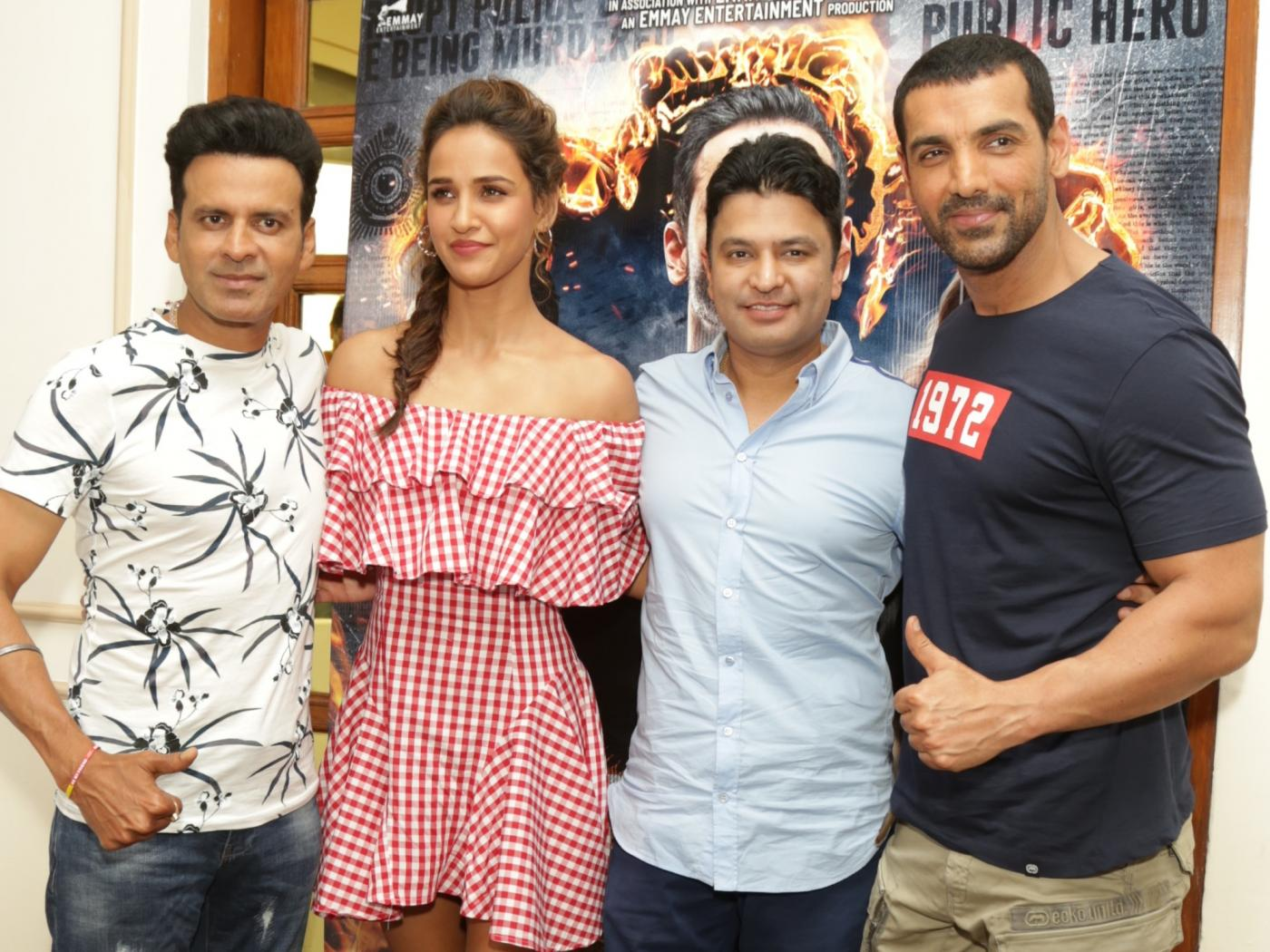New Delhi: Actors Manoj Bajpayee, Aisha Sharma and John Abraham during the promotion of their upcoming film