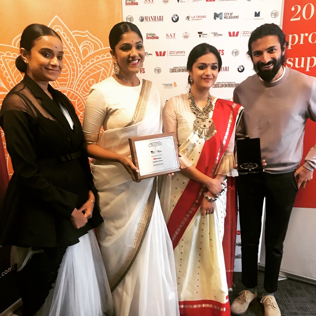 Melbourne: Director Nag Ashwin, actress Keerthy Suresh, producers Swapna Dutt and Priyanka Dutt at the Indian Film Festival of Melbourne (IFFM) in Melbourne. (Photo: IANS) by .