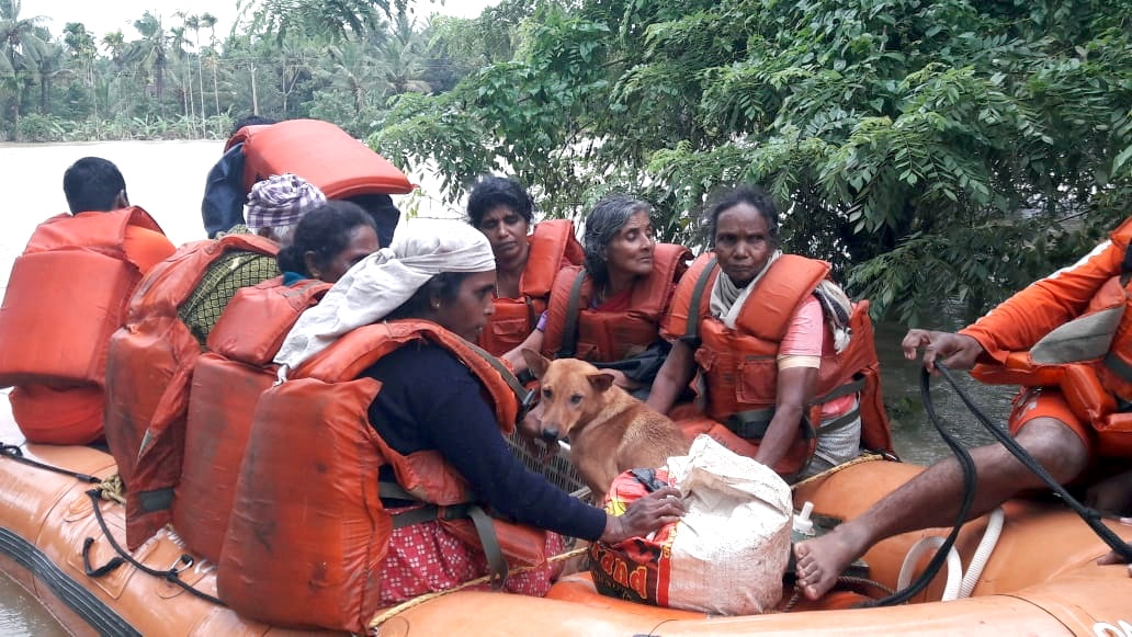Kerala: NDRF teams carrying out rescue and relief operations in flood-affected areas of Kerala on Aug 11, 2018. (Photo: IANS/PIB) by .