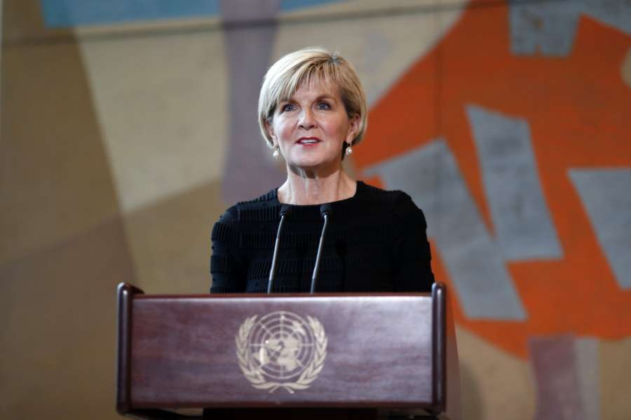 UNITED NATIONS, March 7, 2018 (Xinhua) -- Australian Foreign Minister Julie Bishop addresses after signing a maritime boundaries treaty with Timor-Leste at the United Nations headquarters in New York, March 6, 2018. Australia and Timor-Leste on Tuesday signed a maritime boundaries treaty under the auspices of the United Nations. (Xinhua/Li Muzi/IANS) by .