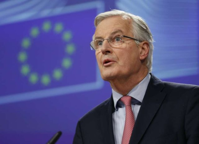 BRUSSELS, Feb. 9, 2018 (Xinhua) -- European Union's chief Brexit negotiator Michel Barnier addresses a press conference about the next phase of negotiations with the UK at EU Commission headquarters in Brussels, Belgium, Feb. 9, 2018. (Xinhua/Ye Pingfan/IANS) by .
