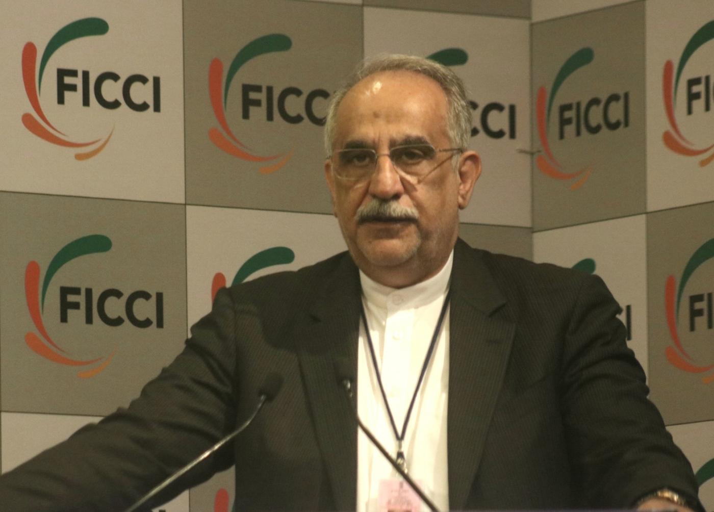 New Delhi: Iran's Finance and Economic Affairs Minister Masoud Karbasian addressing a gathering at FICCI in New Delhi on Feb. 17, 2018. (Photo: IANS) by .