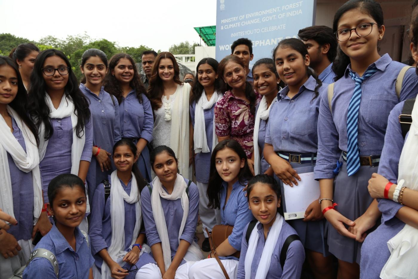 New Delhi: Actress and Wildlife Trust of India (WTI) Brand Ambassador Dia Mirza with school students at the inaugural programme of 'Gaj Mahotasav' organised on the occasion of World Elephant Day', in New Delhi on Aug 12, 2018. (Photo: Amlan Paliwal/IANS) by .