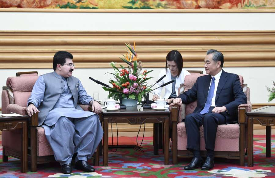 BEIJING, Aug. 16, 2018 (Xinhua) -- Chinese State Councilor and Foreign Minister Wang Yi (1st R) meets with Pakistan's Chairman of Senate Sadiq Sanjrani (1st L) in Beijing, capital of China, Aug. 16, 2018. (Xinhua/Zhang Ling/IANS) by .