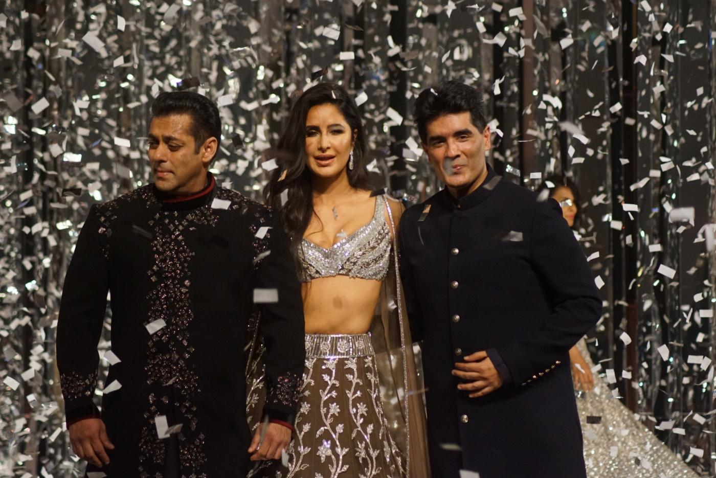 Mumbai: Actors Salman Khan and Katrina Kaif walk on the ramp as show-stoppers for Fashion designer Manish Malhotra's Haute Couture 2018 show at JW Marriot in Mumbai on Aug 1, 2018. (Photo: IANS) by .