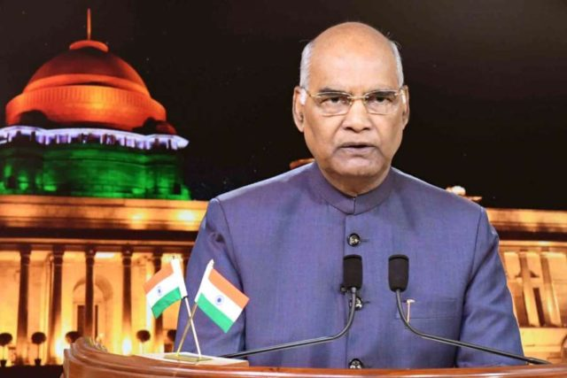 New Delhi: President Ram Nath Kovind addresses the nation on the eve of Independence Day at Rashtrapati Bhavan, in New Delhi on Aug 14, 2018.(Photo: IANS/RB) by .