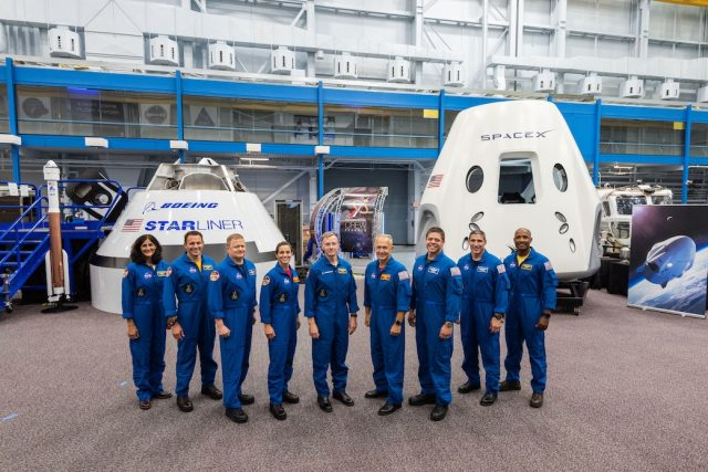 The first US astronauts who will fly on American-made, commercial spacecraft to and from the International Space Station, are, from left, Sunita Williams, Josh Cassada, Eric Boe, Nicole Mann, Christopher Ferguson, Douglas Hurley, Robert Behnken, Michael Hopkins and Victor Glover. (Photo: NASA) by .