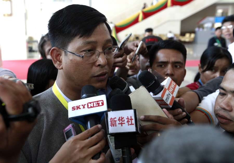 NAY PYI TAW, May 28, 2017 (Xinhua) -- U Zaw Htay (L), Director-General of the Office of the State Counselor's Office, speaks to media after attending the meeting of the Union Peace Dialogue Joint Committee (UPDJC) during the Second Meeting of Myanmar's 21st Century Panglong Peace Conference, in Nay Pyi Taw, Myanmar, May 27, 2017. The ongoing five-day Second Meeting of Myanmar's 21st Century Panglong Peace Conference, which was originally scheduled to close on Sunday, has been extended for one more day. (Xinhua/U Aung/IANS) (zy) by .