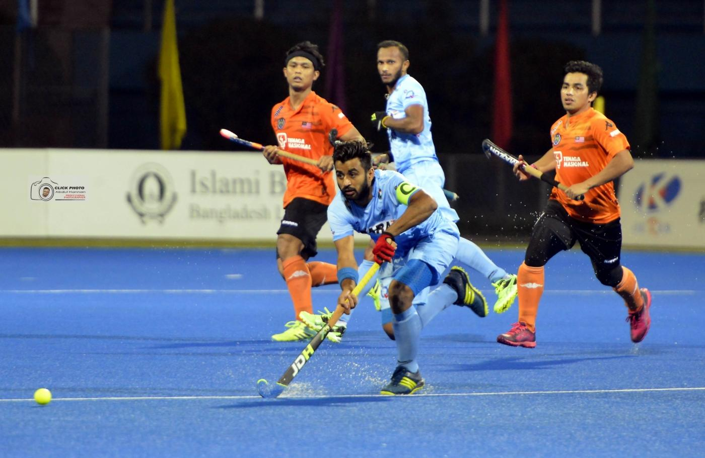 Dhaka: Manpreet Singh in action during the Final against Malaysia in the Hero Asia Cup 2017 at the Maulana Bhashani National Hockey Stadium in Dhaka, Bangladesh on Oct 22, 2017. (Photo: IANS) by .