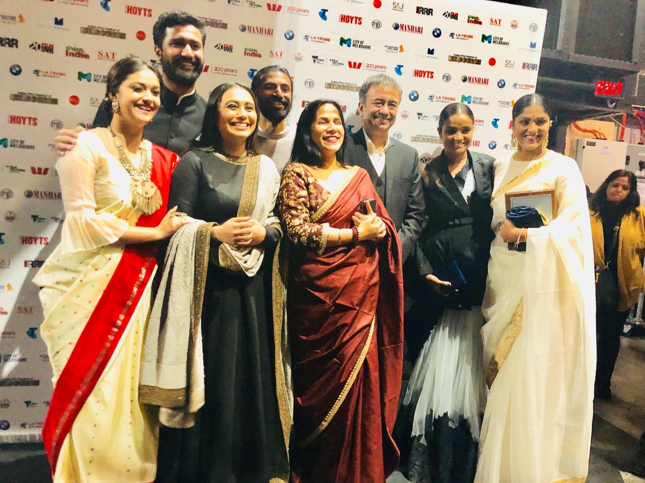 Melbourne: Directors Nag Ashwin and Rajkumar Hirani, actors Rani Mukerji, Farhan Akhtar and Keerthy Suresh, producers Swapna Dutt and Priyanka Dutt at the Indian Film Festival of Melbourne (IFFM) in Melbourne. (Photo: IANS) by .