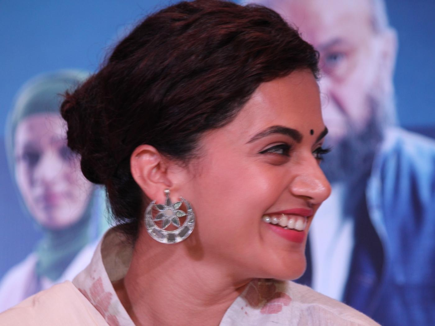 """New Delhi: Actress Taapsee Pannu during a programme organised to promote her upcoming film """"Mulk"""" in New Delhi on July 23, 2018. (Photo: Amlan Paliwal/IANS) by ."""