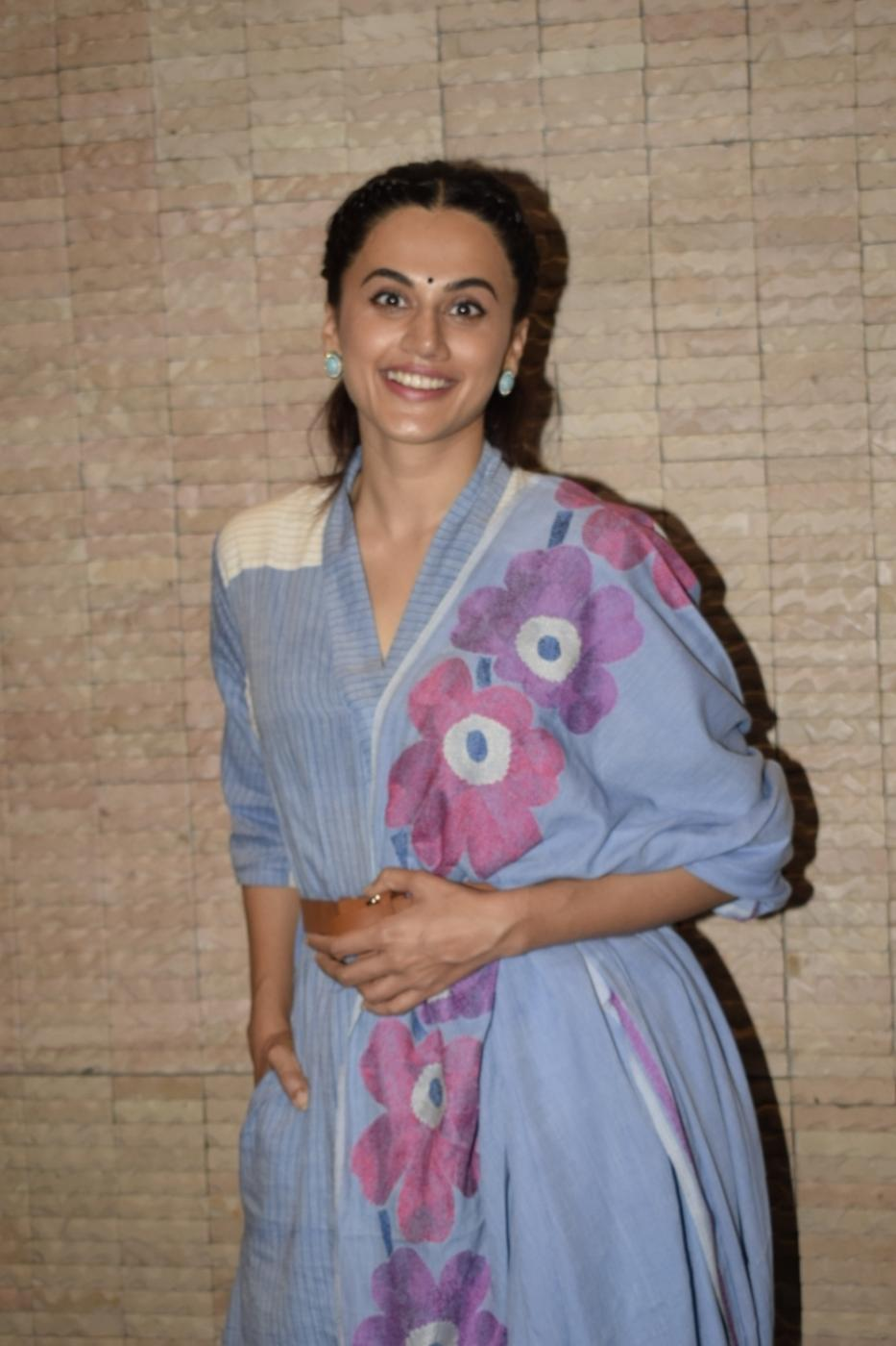 "Mumbai: Actress Taapsee Pannu during a media interaction of her upcoming film ""Mulk"" in Mumbai on July 26, 2018. (Photo: IANS) by ."