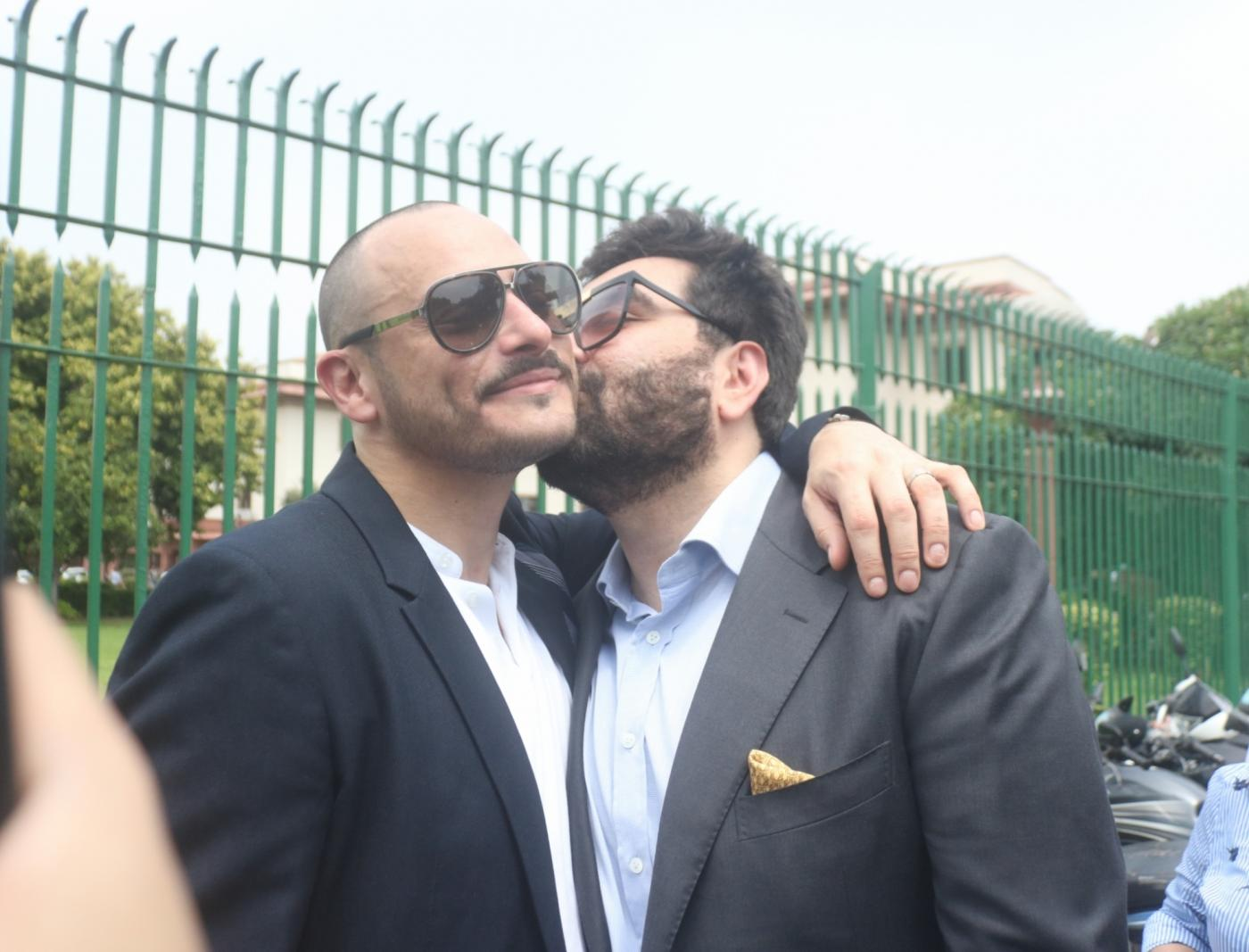 """New Delhi: Hotelier and Section 377 crusader Keshav Suri celebrates after the Supreme Court in a landmark decision decriminalised homosexuality by declaring Section 377, the penal provision which criminalised gay sex, as """"manifestly arbitrary""""; in New Delhi on Sept 6, 2018. The top court delivering separate but concurring judgments, said it is the constitutional and not social morality which will prevail. The verdict sparked celebrations amongst the LGBTIQ (lesbian, gay, bisexual, transgender/transsexual, intersex and queer/questioning) community across India. (Photo: IANS) by ."""