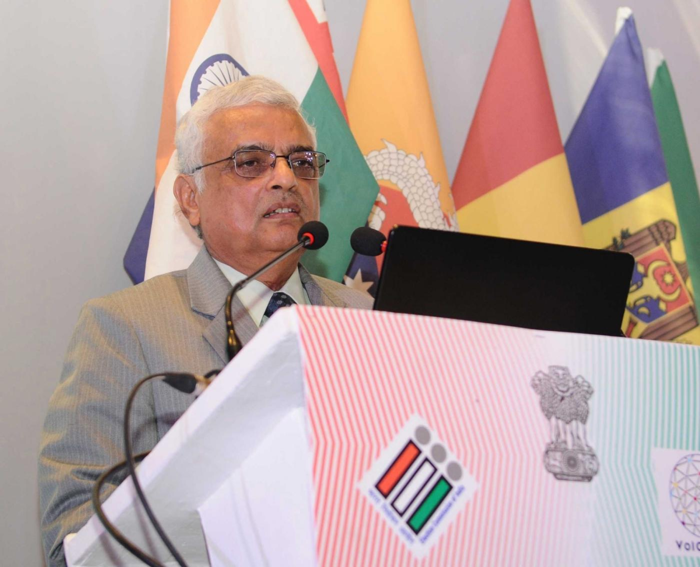 New Delhi: Chief Election Commissioner O.P. Rawat addresses at the International Conference on 'Inclusion of Persons with Disabilities in Electoral Process' in New Delhi on Jan 24, 2018. (Photo: IANS/PIB) by .