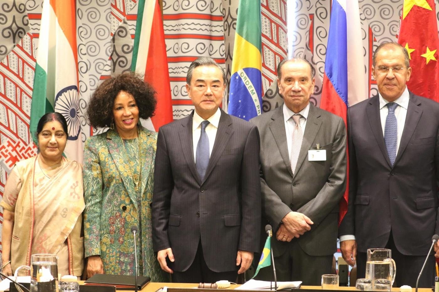 United Nations: (L-R) External Affairs Minister Sushma Swaraj, South Africa's Foreign Minister Lindiwe Sisulu, Chinese Foreign Minister Wang Yi, Brazil's Foreign Minister Aloysio Nunes Ferreira and Russian Foreign Minister Sergey Lavrov at BRICS Foreign Ministers' meeting at United Nations on Sept 27, 2018. (Photo: Mohammed Jaffer/IANS) by .