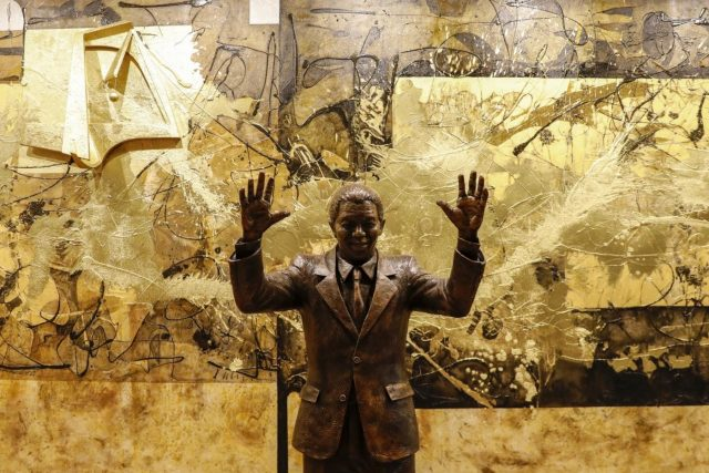 UNITED NATIONS, Sept. 24, 2018 (Xinhua) -- Photo taken on Sept. 24, 2018 shows a statue of Nelson Mandela at the United Nations headquarters in New York. A statue of Nelson Mandela was unveiled at the UN headquarters Monday to honor the 100th anniversary of the late South African president's birth. (Xinhua/Li Muzi/IANS) by .