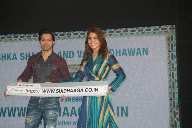 Mumbai: Actors Varun Dhawan and Anushka Sharma at the launch of Sui Dhaaga website in Mumbai on Sept 12, 2018. (Photo: IANS) by .