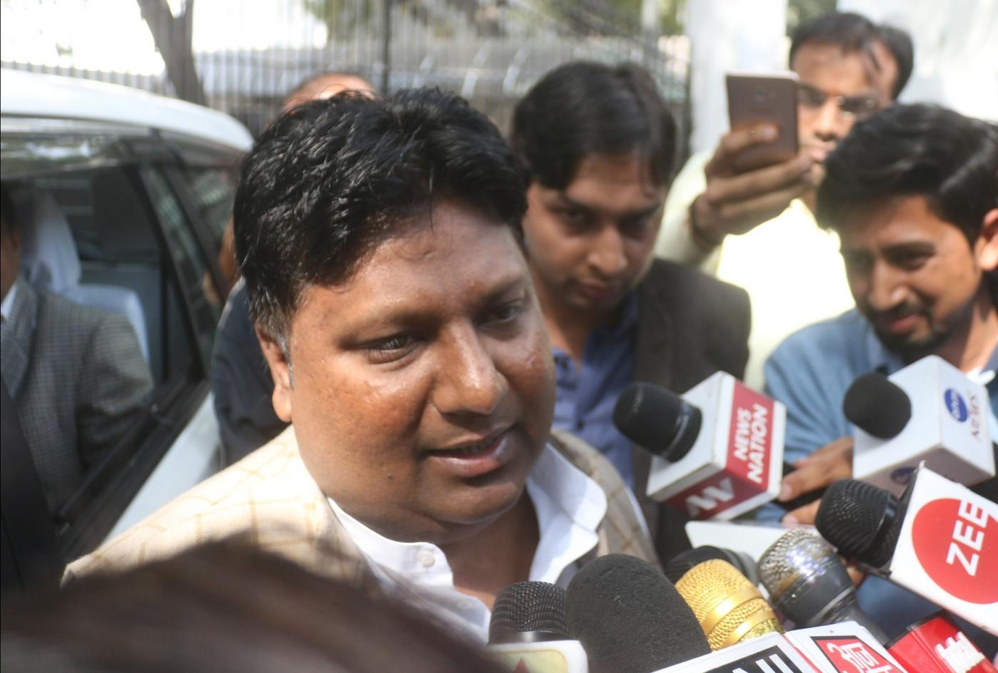 New Delhi: AAP MLA Imran Hussain talks to the press after meeting Delhi Lieutenant Governor Anil Baijal in connection with an alleged assault on Delhi Chief Secretary Anshu Prakash by two AAP MLAs, in New Delhi on Feb 21, 2018. On Tuesday, Prakash had alleged that he was beaten up by Aam Aadmi Party MLA Amanatullah Khan and his colleague in front of Kejriwal at the Chief Minister's residence on Monday midnight, where he was called for a meeting. (Photo: IANS) by .