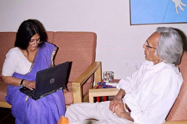 Uma Nair with Tyeb Mehta. by .