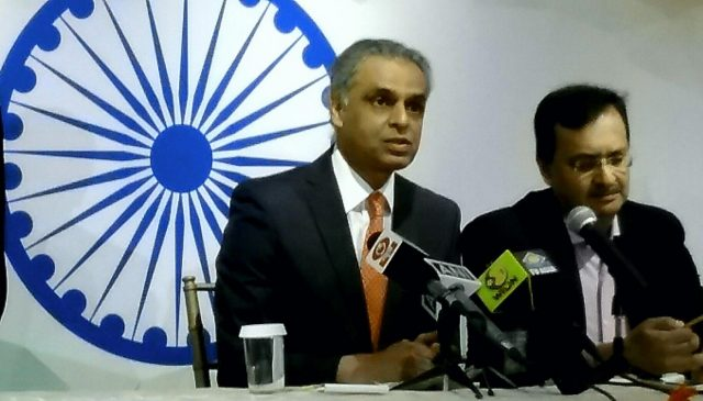 Syed Akbaruddin, India's Permanent Representative to the United Nations, left, and Dinesh K. Patnaik, Joint Secretary,United Nations Political,in the External Affairs Ministry at a news conference in New York on Sunday, Sept. 23, 2018. (Photo: Arul Louis/IANS) by .