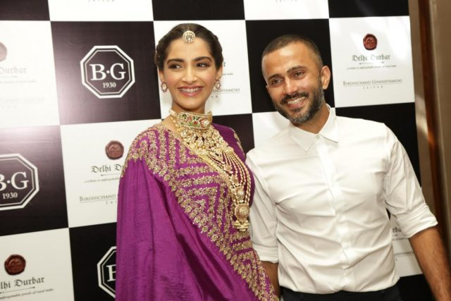 New Delhi: Actress Sonam Kapoor Ahuja along with her husband Anand Ahuja at jewellery collection show, in New Delhi on 8 Sept. 2018. (Photo: Amlan Paliwal/IANS) by .