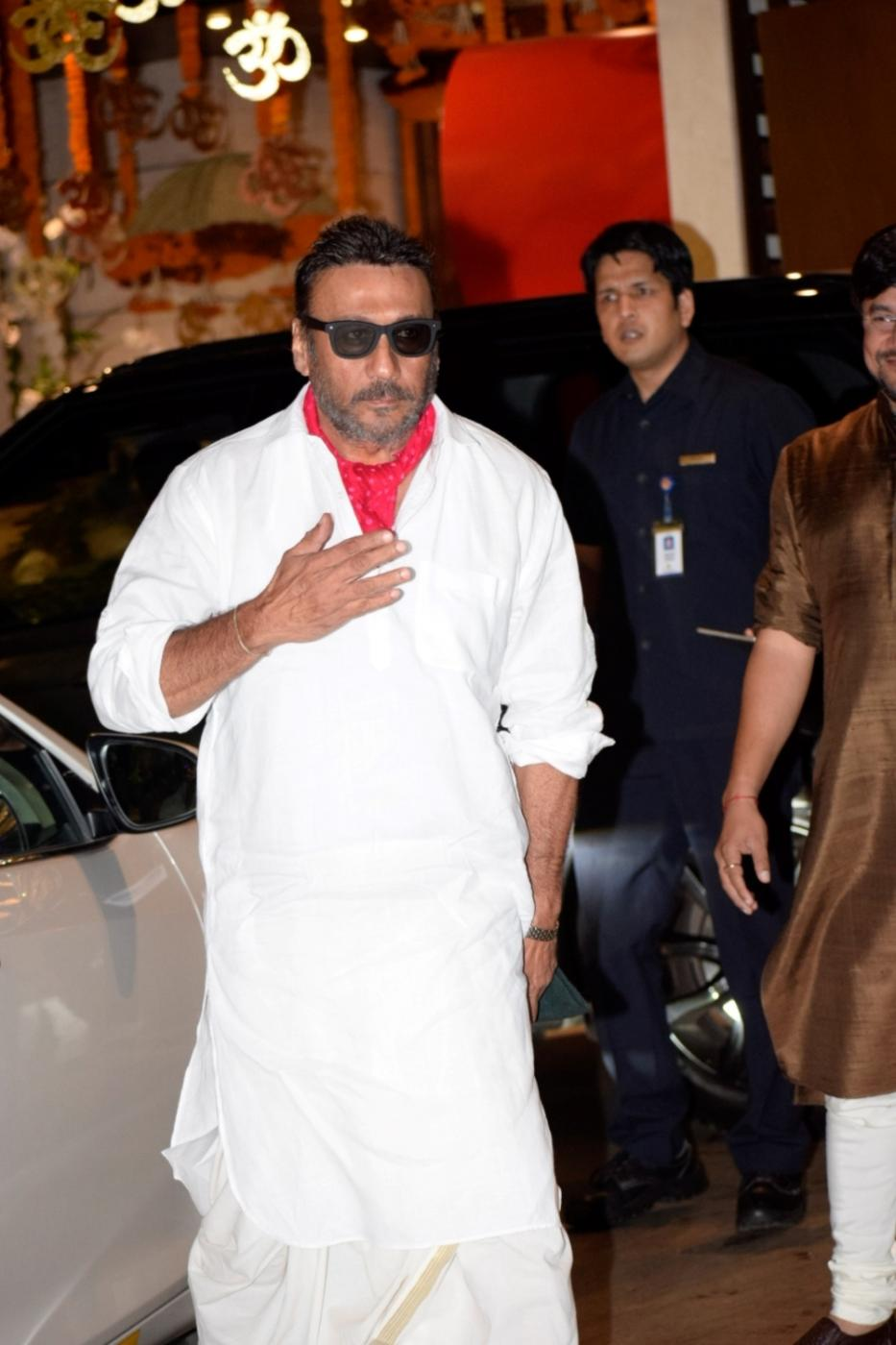 Mumbai: Actor Jackie Shroff arrives at Reliance Industries Chairman and MD Mukesh Ambani's residence to celebrate Ganesh Chaturthi in Mumbai on Sept 13, 2018. (Photo: IANS) by .