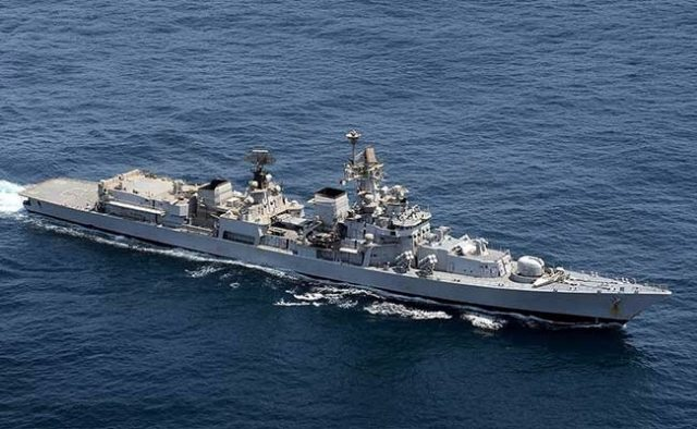 Arabian Sea: A view of the Indian Naval Ship Mumbai that entered Duqm, Oman as part of deployment to the Western Arabian Sea and southern Indian Ocean on Sept 20, 2017. (Photo: IANS/DPRO) by .
