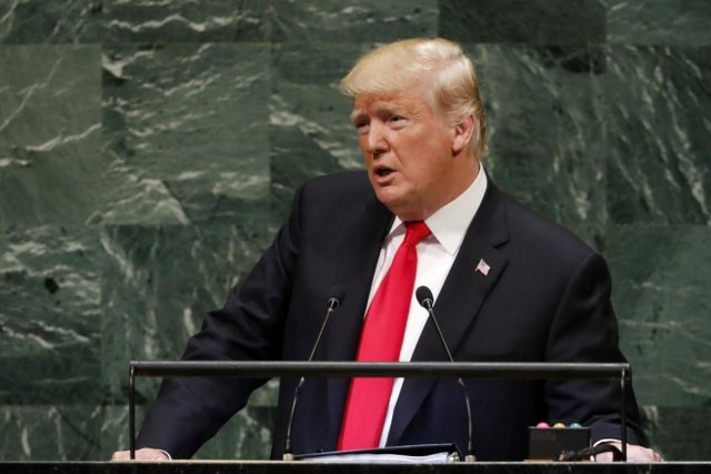 UNITED NATIONS, Sept. 25, 2018 (Xinhua) -- U.S. President Donald Trump addresses the General Debate of the 73rd session of the United Nations General Assembly at the UN Headquarters in New York, on Sept. 25, 2018. (Xinhua/Li Muzi/IANS) by .