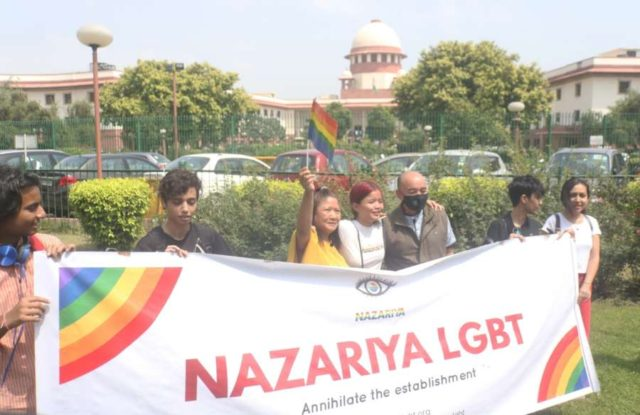 New Delhi: LGBTIQ (lesbian, gay, bisexual, transgender/transsexual, intersex and queer/questioning) supporters celebrate after the Supreme Court in a landmark decision decriminalised homosexuality by declaring Section 377, the penal provision which criminalised gay sex, as