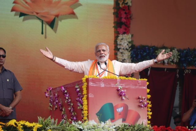 Bhopal: Prime Minister Narendra Modi addresses during 'Karyakarta Mahakumbh', in Bhopal on Sept 25, 2018. (Photo: IANS/BJP) by .