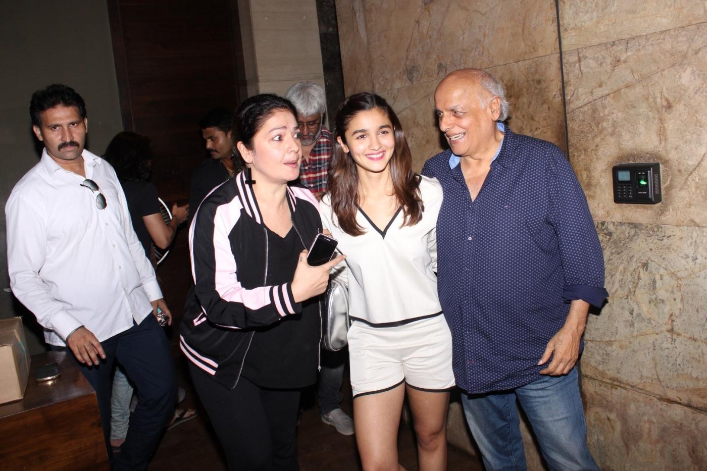Mumbai: Filmmaker Mahesh Bhatt with his daughters and actors Pooja Bhatt and Alia Bhatt during the special screening of film Udta Punjab in Mumbai, on June 16, 2016. (Photo: IANS) by .
