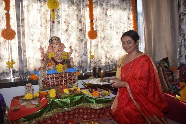 Mumbai: Actress Divya Dutta offer prayers to Lord Ganesha on the occasion of Ganesh Chaturthi, in Mumbai on Sept 13, 2018. (Photo: IANS) by .