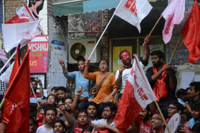 New Delhi: United Left supporters take out a victory march as they celebrate after the alliance won all the four top posts in the Jawaharlal Nehru University Students Union (JNUSU), leaving the ABVP and NSUI way behind; in New Delhi on Sept 16, 2018. (Photo: IANS) by .