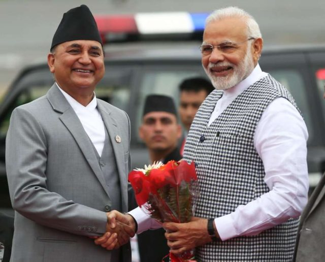 KATHMANDU, Aug. 30, 2018 (Xinhua) -- Nepal's Deputy Prime Minister Ishwar Pokharel (L) welcomes Indian Prime Minister Narendra Modi after his arrival to attend the Bay of Bengal Initiative for Multi-Sectoral Technical and Economic Cooperation (BIMSTEC) summit at Tribhuvan International Airport in Kathmandu, Nepal Aug. 30, 2018. Nepal is all set to host the fourth summit of the BIMSTEC on Thursday and Friday, amid tight security. (Xinhua/Sunil Sharma/IANS) by .