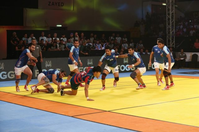 Dubai: Players in action during the second semi final of Kabaddi Masters Dubai between India and South Korea at the Al Wasl Sports Club, in Dubai on June 29, 2018. (Photo: IANS) by .