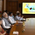 New Delhi: Prime Minister Narendra Modi and his Bangladeshi counterpart Sheikh Hasina jointly unveil e-plaques for the ground-breaking ceremony of two projects - India-Bangladesh Friendship Pipeline and Dhaka-Tongi-Joydebpur Railway Project via video conferencing, in New Delhi on Sept 18, 2018. Also seen External Affairs Minister Sushma Swaraj and Union Petroleum and Natural Gas and Skill Development and Entrepreneurship Minister Dharmendra Pradhan. (Photo: IANS/PIB) by .