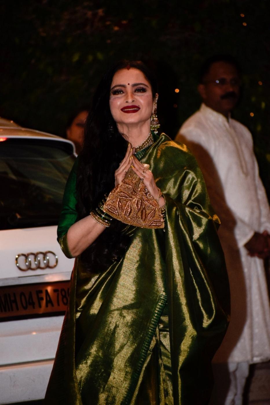 Mumbai: Actress Rekha arrives at Reliance Industries Chairman and MD Mukesh Ambani's residence to celebrate Ganesh Chaturthi in Mumbai on Sept 13, 2018. (Photo: IANS) by .