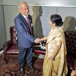 New York: External Affairs Minister Sushma Swaraj meets Nepal Foreign Minister Pradeep Kumar Gyawali during a bilateral meeting on the sidelines of 73rd session of the UN General Assembly, in New York, US on Sept 24, 2018. (Photo: IANS/MEA) by .