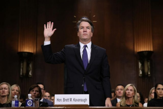 WASHINGTON, Sept. 28, 2018 (Xinhua) -- U.S. Supreme Court nominee Judge Brett Kavanaugh testifies on a hearing on Capitol Hill in Washington D.C., the United States, Sept. 27, 2018. The U.S. Senate Judiciary Committee on Thursday held a hearing to determine whether a sexual assault allegation against Supreme Court Justice nominee Brett Kavanaugh was credible. (Xinhua/POOL/Win McNamee/IANS) by .